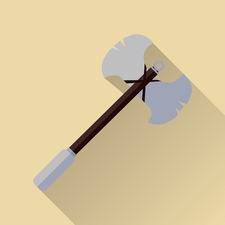 halberd: Two blade battle axe isolated. Medieval knife. Weapon symbol icon. War concept. For computer games, mobile appliances. Part of series of game objects in flat design. Vector illustration.