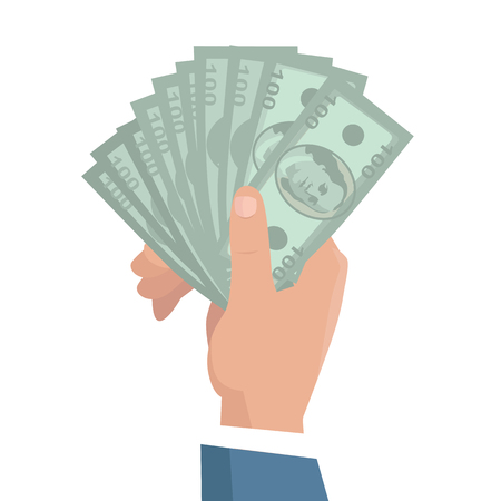 wages: Hand with money vector illustration in flat style design. Businessman holding one hundred dollar banknotes in hand. Income, investment, loan, savings, wages illustration for business concepts.