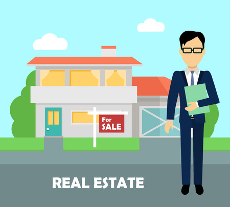apartment buildings: Real estate broker at work. Real estate agent, house building, property home, realtor and rent, sale housing, buy apartment. Part of series of modern buildings in flat design style. Vector