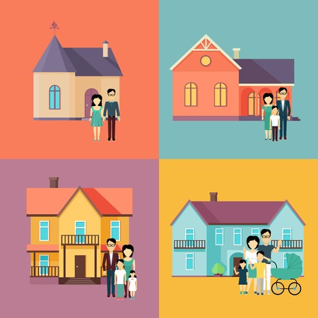 housing style: Set of real estate conceptual vectors in flat style design. Family standing near their houses. Buying a new place for living. Illustration for real estate company advertising, housing concepts.