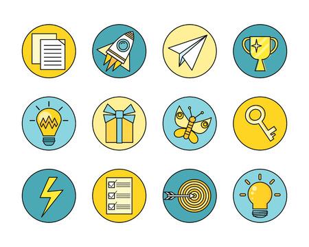 problem solution: Idea generation round icon set in flat. Idea generation, problem solving, strategy solution, analysis innovation, research, brainstorm, good solution, optimization, insight inspiration illustration