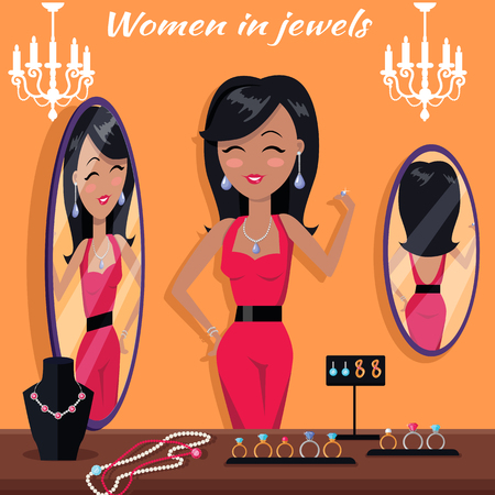 jewelry store: Women in jewels in front of the mirror. Jewelry banner concept design. Diamond and jewellery on model, necklace and jewels, jewelry model, ring fashion jewelry, store jewelry shop. Vector illustration