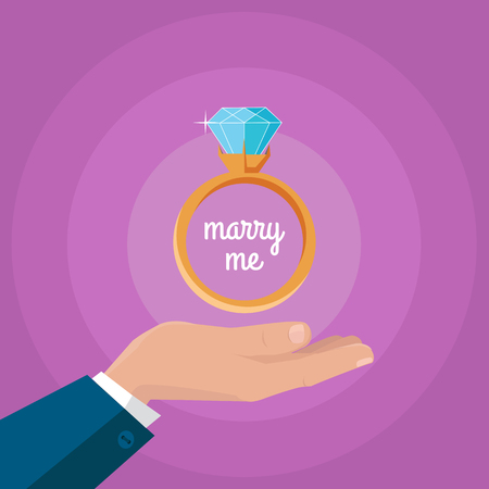 Marry me vector concept in flat design. Gold wedding ring with huge diamond on mans hand. Romantic gift for gift for the future bride. Marriage proposal and love declaration with jewelry. Illustration