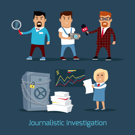 journalistic: Journalistic investigation concept vector. Flat design. Financial crime, tax evasion, money laundering, corruption illustration. Set of media workers characters investigator, photographer, reporter Illustration