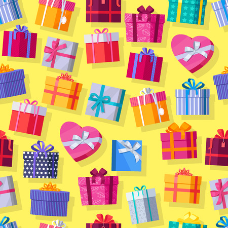 원활한 패턴 선물 상자입니다. 화려한 포장 된 선물 상자입니다. 압도적 인 활 아름다운 선물 상자. 노란색 배경에 다양 한 선물 상자입니다. 선물 기호