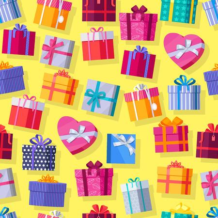 Naadloos patroon geschenkdozen. Kleurrijke verpakt geschenkdozen. Mooi cadeau doos met overweldigende boog. Diverse giftdozen op gele achtergrond. Geschenk symbool. Christmas gift box. vector illustratie Vector Illustratie