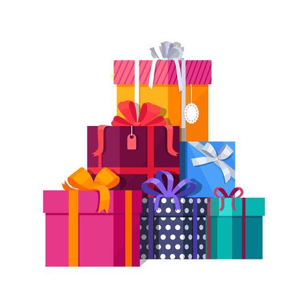 Grande mucchio di colorate scatole regalo avvolto. regali di montagna. Bella casella presente con l'arco schiacciante. Confezione regalo icona. simbolo regalo. Confezione regalo di Natale. Illustrazione vettoriale isolato Archivio Fotografico - 64620652