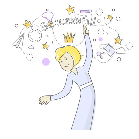 indispensable: Successful business woman dancing. Things that bring good luck surround her. Favourite items in office work. Indispensable things. Paper plane star medal clock crown cloud pen mobile phone. Vector