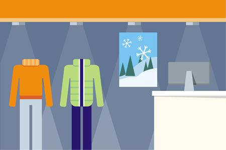 pantalones abajo: La tienda de ropa concepto escaparate del vector. Diseño plano. Los cambios estacionales en la ilustración gama tienda. Pantalones, suéter, chaqueta abajo en maniquíes en piso de la tienda. Imagen de desolladores, publicidad visual, diseño de páginas web.