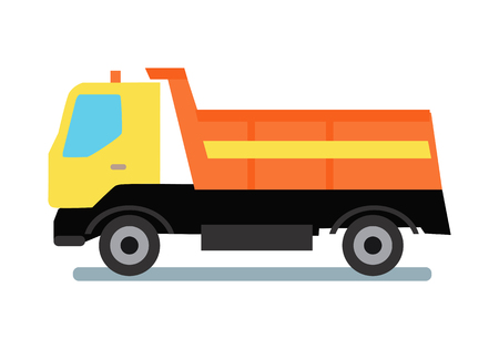 intake: Delivery tipper truck transportation. Tipper with yellow cabin and orange vehicle. Cargo truck. Tipper dumper business truck transportation sand. Vector illustration in flat style design.
