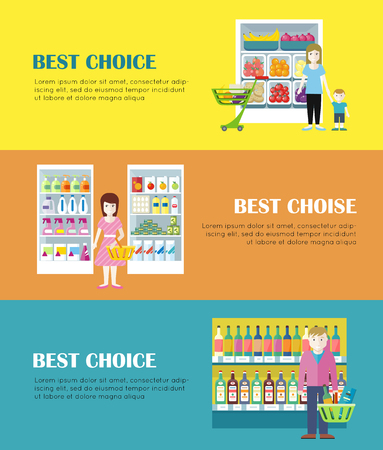 grocery shelves: Set of best choice concept web banners. Flat style. Shopping in grocery store. Customers choose daily products from supermarket shelves. Illustrations for retail store advertising, web pages design. Stock Photo
