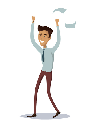 Business success illustration. Flat style design vector. Great deal, good day concept. Happy man with raised hands enjoying his success. Getting result. Isolated on white background. Stock Photo
