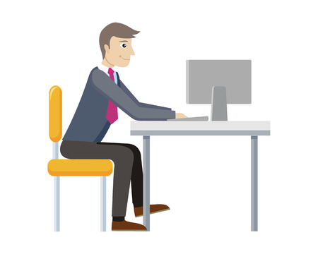 worker working: Strategic management manager working at computer isolated. Worker in office. Strategic planning, marketing, thinking, vision, business strategy, marketing and planning, finance. Vector illustration Stock Photo