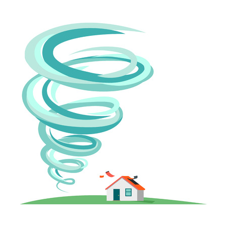 hurricane disaster: Tornado and hurricane infographics. Natural disaster symbol icon sign. Deadly tornado near house. Tornado swirl damages village cottage. Catastrophe caused by strong wind. Vector illustration