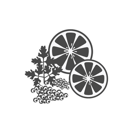 provisions: Elegant delicacies from the sea concept in monochrome variant. Seafood illustration for packaging, logos, and patterns. Caviar filed with lemon and herbs.