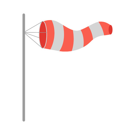 windsock: Meteorology windsock inflated by wind. Red and white windsock indicate the direction and strength of the wind. Conical textile tube. Used at airports, alongside highways at windy locations. Vector Stock Photo