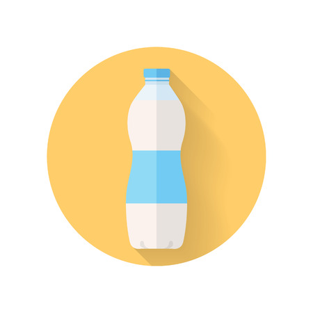 milk production: Dairy product vector. Flat design. Labeled plastic or glass bottle of fresh milk. Packaging for liquid product. Illustration for farm husbandry, milk production, grocery store ad. Isolated on white Illustration