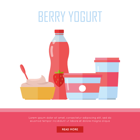 assortment: Berry yogurt banner. Milk production. Yogurt with berries and blueberries. Different dairy products from milk on white background. Assortment of dairy products. Farm food. Dairy website template.