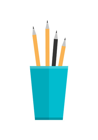 pencil holder: Blue glass with pencils. Stack of colored pencils in a glass. Plastic pencil holder, pen holder. Isolated object on white background. Vector illustration in flat style.