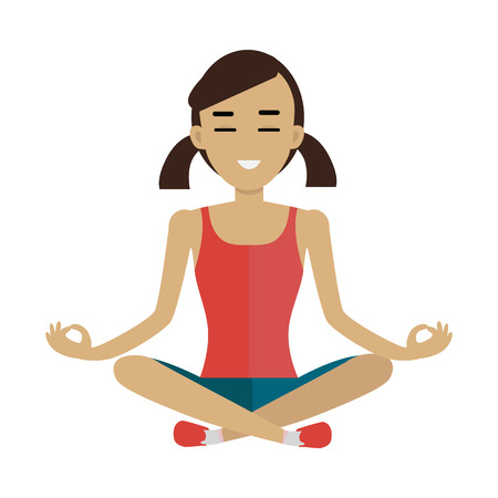 red shirt: Young woman in red shirt and blue shorts making meditation in lotus pose. Zen woman in yoga pose. Meditating woman. Isolated object in flat design on white background. Illustration