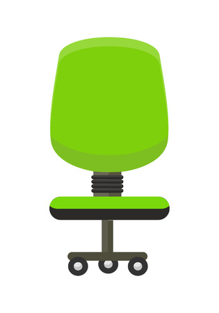 Green office chair icon. Office chair in colorful flat design style. Chair on wheels. Office workplace design element. Isolated object on white background. Vector illustration.
