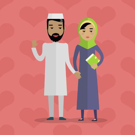 Popolo musulmano. Famiglia araba. Arabo marito e moglie. Uomo in abito bianco e donna in paranja. Musulmano e musulmano. Coppie medio-orientali. La gente della serie mondiale. Vector in stile piatto Vettoriali