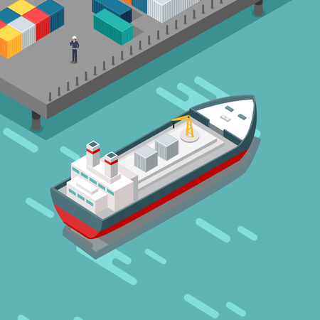 berth: Cargo port vector illustration. Isometric projection. Ship with steel containers standing on the berth at the port, worker in helmet ashore. Transatlantic carriage. For delivery company adertising