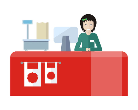 mall interior: Shop assistant sitting at the cash desk. Quality service. People in supermarket interior design. Saleswomen at the counter. Mall manager near weighing-machine. Marketing, retail store. Vector