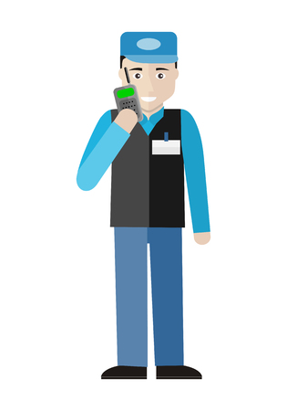 security guard man: Security character illustration in flat style design. Smiling man in blue uniform talking on mobile radio. Guard in supermarket. Picture  for profession illustrating. Isolated on white background.