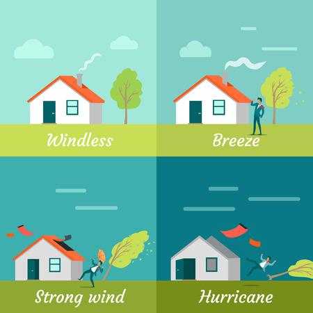 風の強さのレベル。無風の風強風ハリケーン。風レベルのバナーのセットです。コテージ家、男とツリー。自然災害。変わりやすい天気の概念。ベ