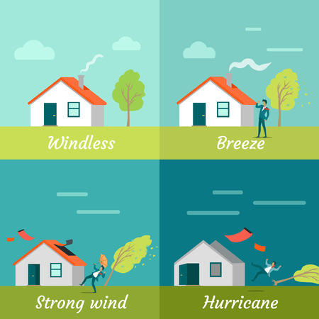 hurricane disaster: Wind strength levels. Windless breeze strong wind hurricane. Set of banners with wind levels. Cottage house, man and tree. Natural disaster. Changeable weather concept. Vector illustration