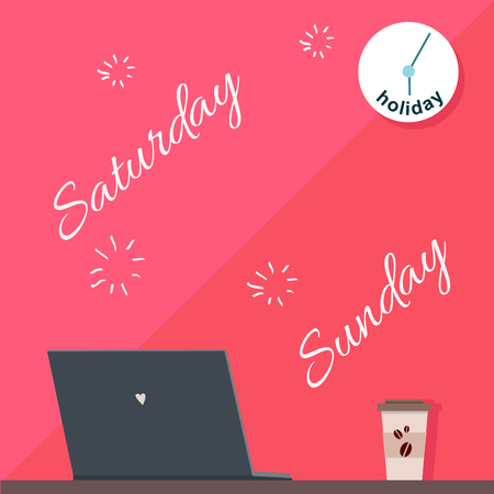 absent: Saturday and Sunday holiday. Official day off. Weekend at work. Person absent on working place. Nobody works. Part of series of daily routine of the week. Laptop, clock, monitor. Vector illustration.
