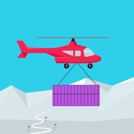 cold storage: Helicopter worldwide warehouse delivering. Logistics container shipping and distribution. Transportation by water in mountains in desert and in snow. Loading and unloading boxes. Vector illustration