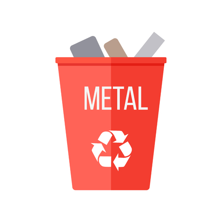 reduce waste: Red recycle garbage bin with metal. Reuse or reduce symbol. Plastic recycle trash can. Trash can icon in flat. Waste recycling. Environmental protection. Iron and metal products. Vector illustration.