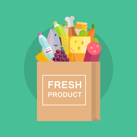 grocery shopping: Grocery shopping vector concept. Purchases planning and buying fresh products for a week concept. Various foods sticking from  paper bag illustration for market, shop, food delivery ad, menu, prints.