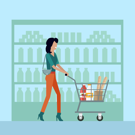 woman drinking milk: Woman with shopping cart in supermarket. Woman in brown pants. Woman shopping, supermarket shopping, marketing people, market shop interior, customer in mall, retail store illustration in flat Illustration