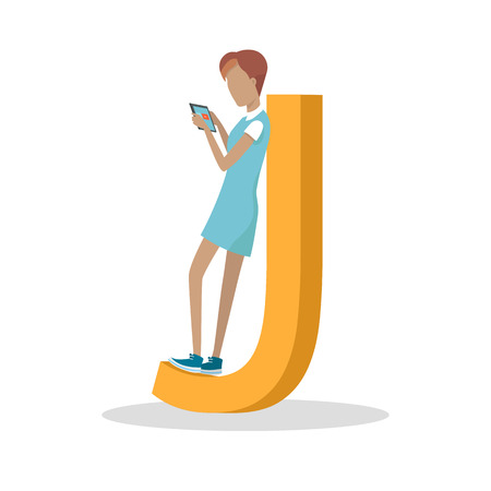 alphabetic character: J letter and girl standing and playing on tablet isolated. Social network. Alphabet with cartoon pictures of people using modern computer technologies for communication. Flat design. ABC vector