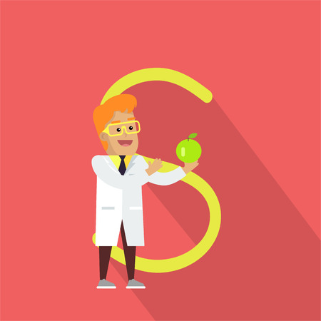 glossary: Science alphabet vector concept. Flat style. ABC element. Scientist man in white gown standing with green apple in hand, letter S behind. Educational glossary. On red background with shadow