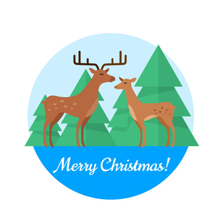fallow deer: Merry christmas vector concept in flat design. Fallow deers couple, female and male standing on background of spruce trees. Northern flora and fauna motif. For greeting cards, advertising, web design Illustration