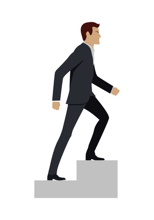 ascend: Businessman in black business suit walking up stairs. Business strategy, growth, leadership, walking to success concept. Man personage in side. Isolated vector illustration on white background