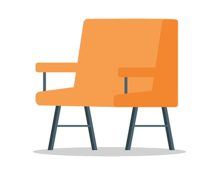 Armchair vector in flat style design. Classic furniture for hall or living room. Illustration for apartment interior design concepts, furniture shops advertising, app icons. Isolated on white