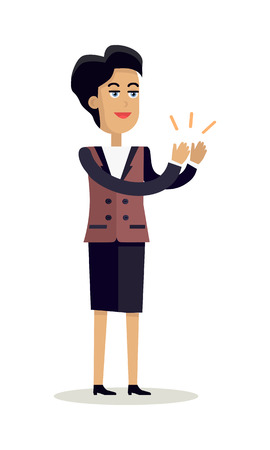 Business woman with black hair and in business suit stands and applauds. Woman clapping hand with happy face. Smiling woman personage in flat design isolated on white background. Vector illustration