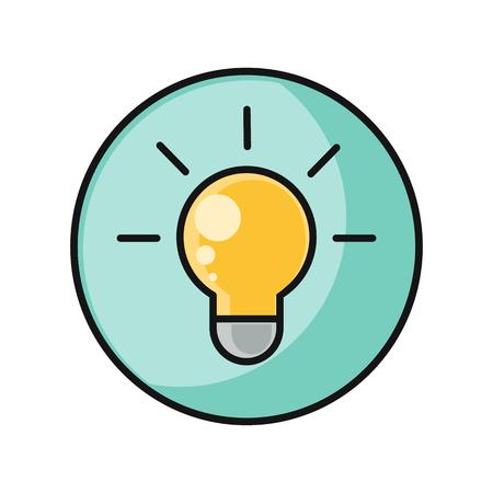 lamplight: Creative idea with light bulb shape as inspiration concept. Light bulb. Idea concept. Light lamp sign icon. Idea symbol. Light shines icon. Round line icon. Flat design vector illustration