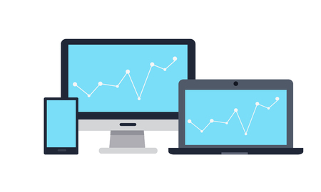 information  isolated: Set of computer monitor, laptop and tablet computer with colour diagram on screen. Concept of online business, commerce statistics, business analysis, information. Isolated object on white background Illustration