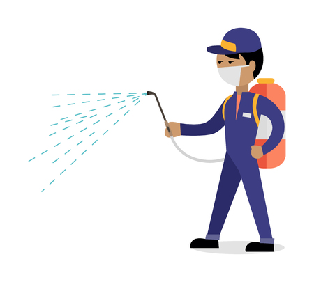 Pest control concept vector in flat style design. Man in uniform with face mask spray pesticides from sprayer on back. Chemical treatment against termites, cockroaches, fleas, agricultural pests.