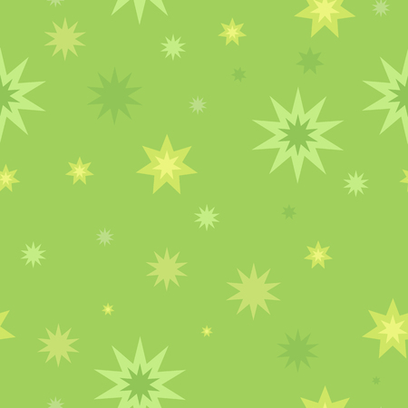 fortune concept: Seamless pattern with star splashes isolated on green background. Cartoon style. Wallpaper design covers, posters, wrapping papers, backgrounds. Success and fortune concept. Modern flat design. Vector