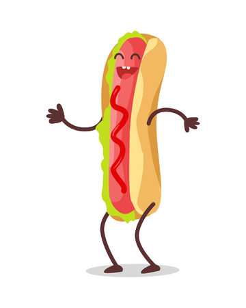 frank: Hot dog dancing isolated on white. Funny food story conceptual banner. Fresh cooked hotdog character in cartoon style on disco. Happy meal for children. Childish menu poster. Vector illustration Illustration