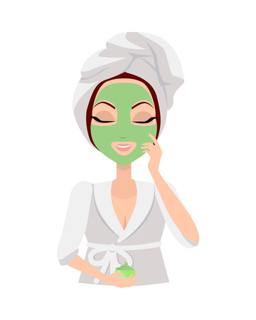 make up model: Scrubbing. Girl applying a face scrub for a few minutes to eliminate dead skin cells. Woman instruction how to make up correctly. Girl cares about her look. Part of series of ladies face care. Vector