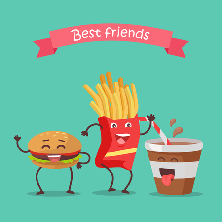Best friends hamburger, fries and soda dancing. Funny food story conceptual banner. Fresh cooked food characters in cartoon style on disco. Happy meal for children. Childish menu poster. Vector Illustration