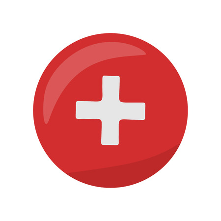 hospital sign: Red cross icon on the button. First medical aid ambulance sign symbol. Hospital emblem. Red cross aid. Flag of Switzerland on round circle. Health care concept. Pharmaceutical crest. Vector Illustration